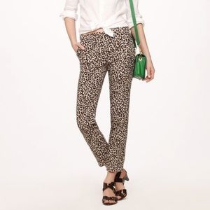 J Crew Linen Cafe Capri Animal Print Cheetah Pants
